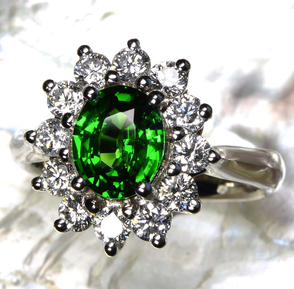 ring checkerboard garnet with platinum rings accents diamond carat tsavorite cut new